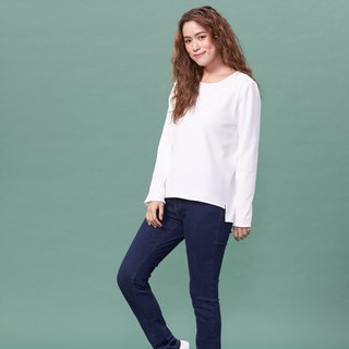 Organic Cotton Top White Crew Neck Long Sleeve/Hem Split (Woman/woman) Organic Cotton