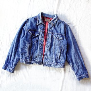 BajuTua / vintage / American 80's Levi's Red Plaid inside the classic third-generation truck driver jacket