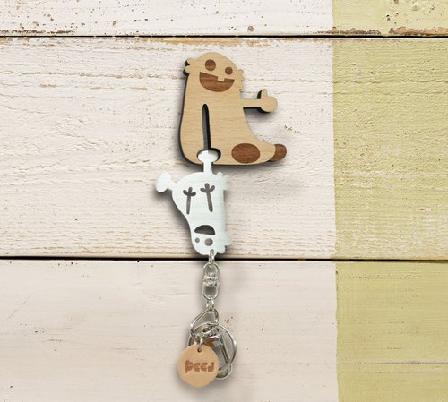【Peej】'Hang in There' Wood and Stainless Steel Key Chain and Wall Hanger