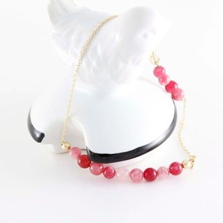 Happy atmosphere red and white chalcedony bracelet