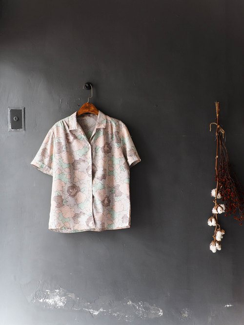 Heshui Mountain - Ibaraki Pink Line Flower Jigsaw Rock Party Antique Silky Shirt Top Shirt oversize vintage