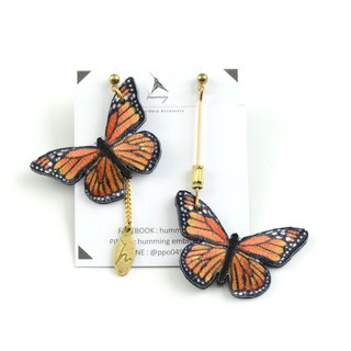 humming-Embroidery earrings | Monarch butterfly