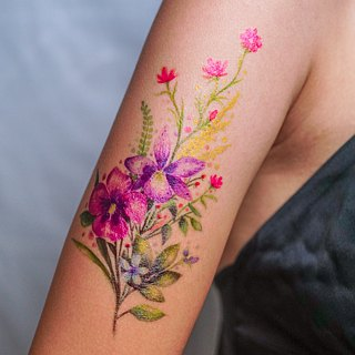 LAZY DUO Large Watercolor Flower Temporary Tattoo Sticker Floral Lavender Summer