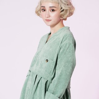 : EMPHASIZE left breast pocket retro high waist corduroy sleeve dress - Matcha Green