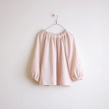 Daily hand clothes pink white puff sleeve elastic blouse cotton double yarn