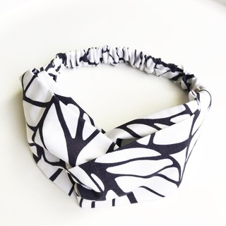 Leaf pattern cross hair band - white