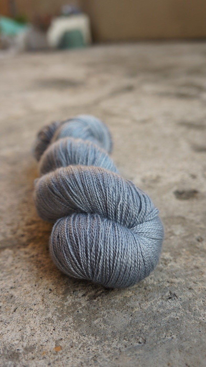 Hand dyed lace thread. Blue Ash (55 BFL/45 Silk)