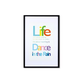 HomePlus Decorative Frame - Quote Series DanceInTheRain - Black 63x43cm Homedecor