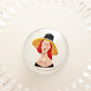 Ceramic The Woman in hat  Brooch / Magnet