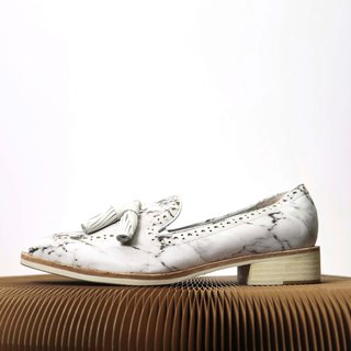 marble pattern loafers