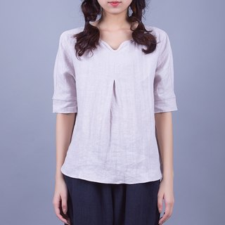 Gray Purple Sand Wash Pure Linen Half-Sleeved Shirt