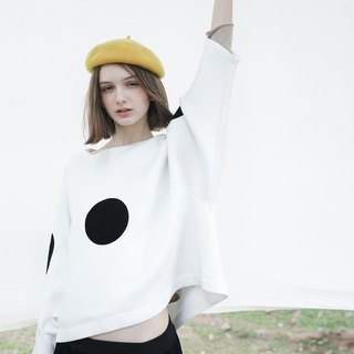 Black and white dot air cotton top - imakokoni