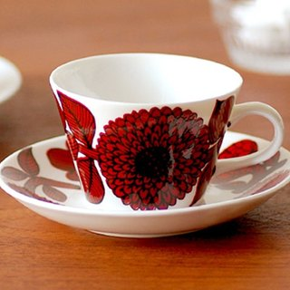 Gustavsberg Red Aster Coffee Cup Set