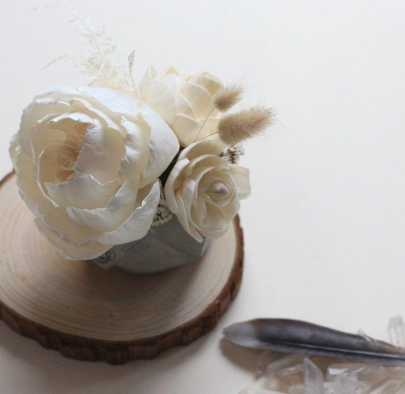 索拉擴香桌花,水泥盆香氛擺件,可配精油