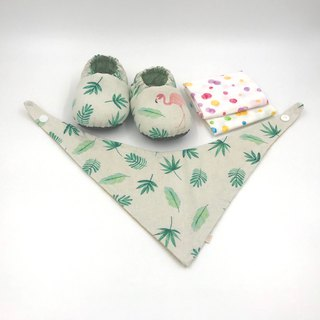 Pink Crane Leaf - Miyue Baby Gift Box (toddler shoes / baby shoes / baby shoes + 2 handkerchief + scarf)