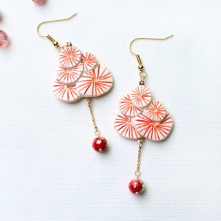 Handmade fireworks earrings (Red)
