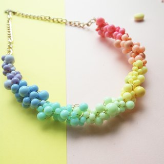 Custom cute rainbow-colored hand-knit items and chain _BUN015