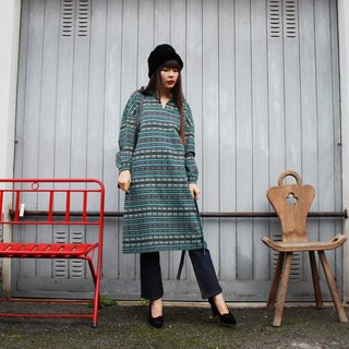 F3081 [Vintage dress] green striped waistband long-sleeved dress (Christmas gifts Christmas exchange gifts)