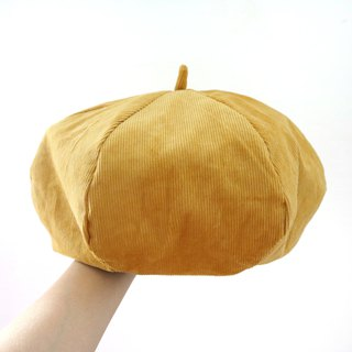 Mustard yellow / ginger velvet handmade double-sided hexagonal hat painter hat
