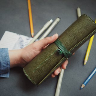 Multifunctional leather pencil case/Painting stationery bag Dark green handmade leather design Customized