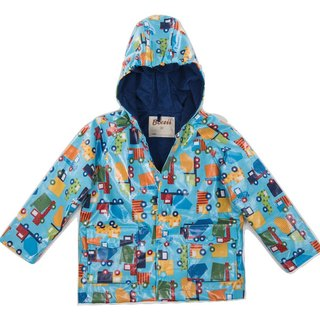 Windproof Waterproof breathable printing warm wind raincoat jacket <dynamic engineering car>