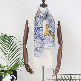 Secret Garden Series Cat Mantra Artist Original Silk Twill Silk Men's Double Scarf