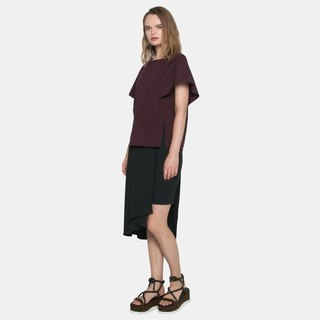 Wide Sleeve Box Shirt (Wine)