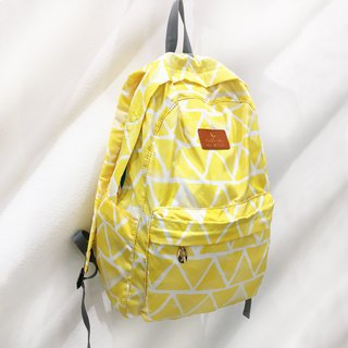 2018 Summer New Yellow Triangle Retro Backpack Fold Travel Light geometry