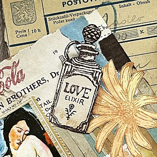 Hand-drawn stamp Love Elixir perfume