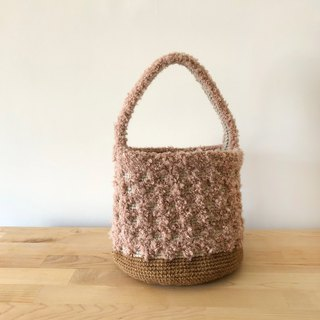 Handwoven bag - fluffy teddy bear bucket bag