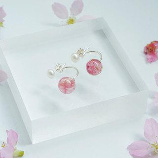 | Palm の falling cherry |*Small dot*Dual use cherry blossom sterling silver earrings