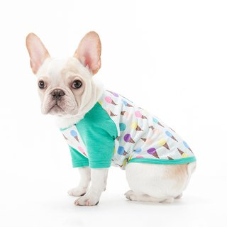 Color ice cream method bull cow fat dog pet clothes dog clothes raglan sleeve cool bamboo cotton shirt - green