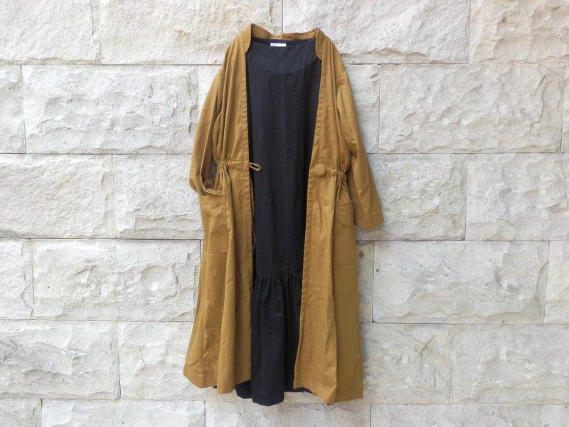 棉帆布/長外套/芥末黃