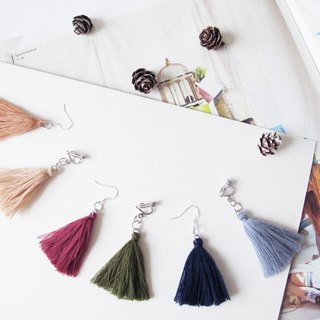 mint neiff-simple monochrome pure tassel earrings clip / wear
