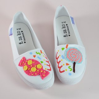 White cotton canvas hand made shoes candy (no weave)
