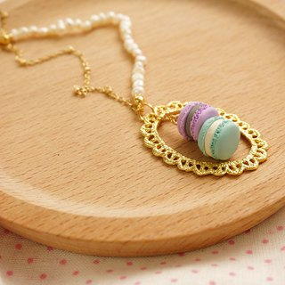 | Macaron lace pearl necklace | hand clay soft clay clay necklace gold