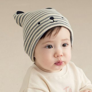 Happy Prince Nua Beanie Striped Bear Cotton Baby Hat Korean Baby Hat