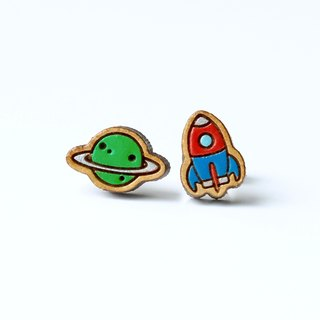 Painted  wood earrings-Planet & Rocket (green planet)