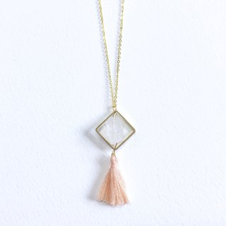 Pure Quartz Long Necklace with Pink Tassel