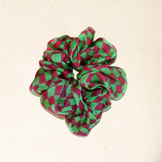 """Guattari"" green peach red chiffon super bright eye plaid printed pure silk elastic fashion hair ring"