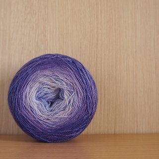 Hand-stitched lace thread. Volume heart graded purple. (80 BFL / 20 Silk)