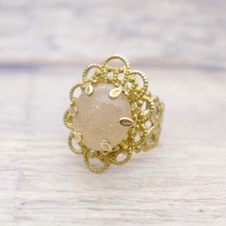 Brass and glass with shiny fine powder, oval shape ring, Pale milky pink