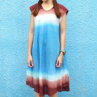 Maverick Village cotton hand dyed sleeveless dress long version decoration [sky and earth] J-47 only this one