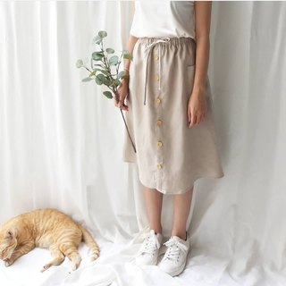 Linen skirt with Wooden bottons - Khaki
