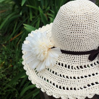Handmade - pattern weaving big hat - weaving visor - big hat / hand weaving - travel / light travel