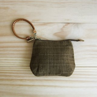 Wristlet Purses Hand Woven and Botanical dyed  Cotton Brown Color 小钱包