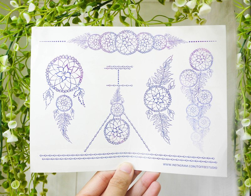Original Design Tattoo Sticker | Floral Dreamcatcher