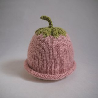 hand knit Pink strawberry beanie hat for 0-3-year-old