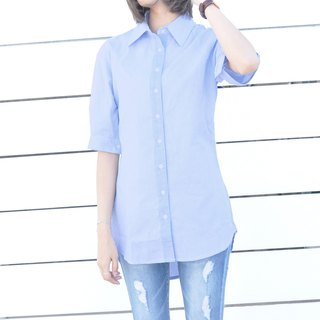 Five-sleeve Sleeve Stripe Long Splicing Shirt Yarn-dyed Thin Cotton Long Shirt - Blue