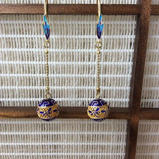 喵 喵 handcrafted 鎏 gold 掐 silk burning blue cloisonne enamel round pearl earrings